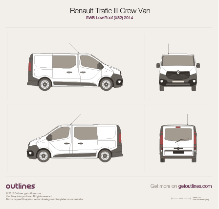 2014 Renault Trafic X82 Crew Van Van blueprints and drawings