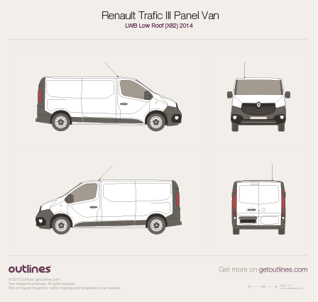 2014 Renault Trafic X82 Panel Van LWB Low Roof Van blueprint