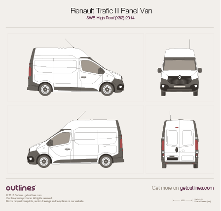 2014 Renault Trafic X82 Panel Van SWB High Roof Van blueprint