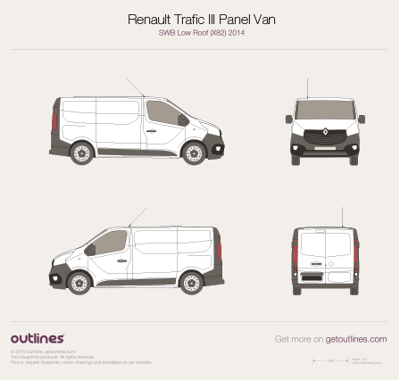 2014 Renault Trafic X82 Panel Van SWB Low Roof Van blueprint