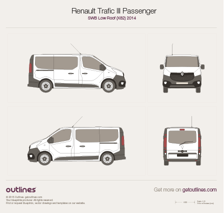 2014 Renault Trafic X82 Passenger Minivan blueprints and drawings