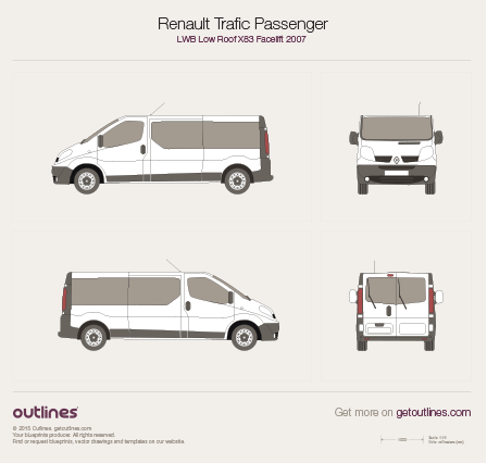 2007 Renault Trafic X83 Passenger LWB Low Roof Facelift Wagon blueprint