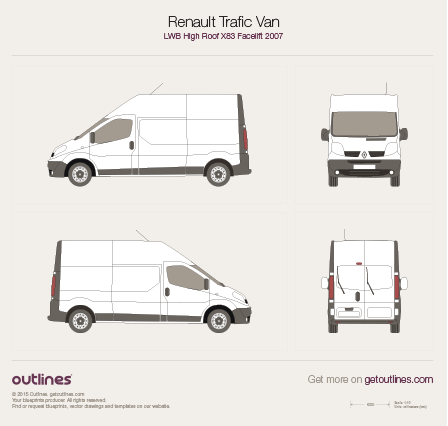 2007 Renault Trafic X83 Van LWB High Roof Facelift Van blueprint