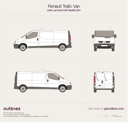 2007 Renault Trafic X83 Van LWB Low Roof Facelift Van blueprint
