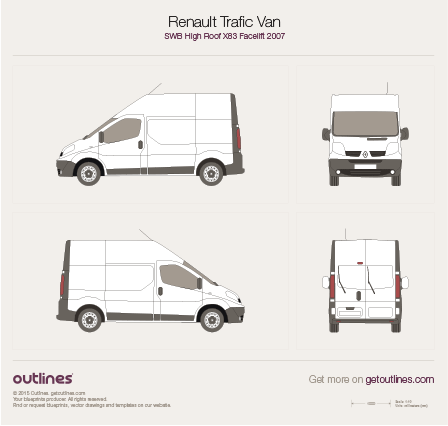 2007 Renault Trafic X83 Van SWB High Roof Facelift Van blueprint