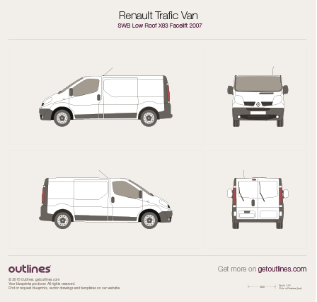 2007 Renault Trafic X83 Van SWB Low Roof Facelift Van blueprint