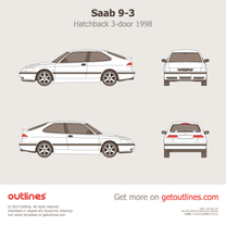 1998 Saab 9-3 3-doors Hatchback blueprint