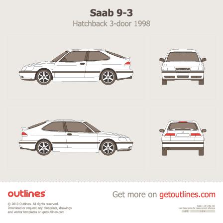 1998 Saab 9-3 3-doors Hatchback blueprint