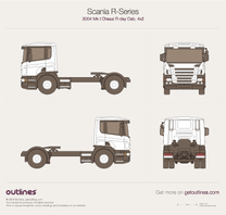 2004 Scania R-Series Chassis Mk I R-day Cab, 4x2, 3300 Heavy Truck blueprint
