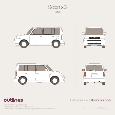2003 Scion xB Microvan blueprints and drawings