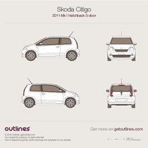 2011 Skoda Citigo 3-doors Hatchback blueprint