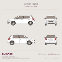 2010 Skoda Fabia II 5-doors Facelift Hatchback blueprint