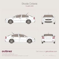 2008 Skoda Octavia A5 Liftback 5-doors Facelift Hatchback blueprint
