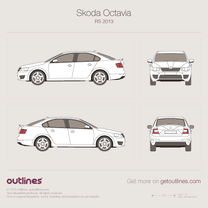 2013 Skoda Octavia RS A7 Mk III Hatchback blueprint