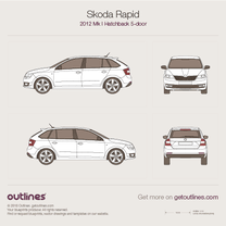2012 Skoda Rapid 5-doors Hatchback blueprint