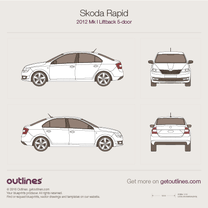 2012 Skoda Rapid Mk I Liftback Hatchback blueprint