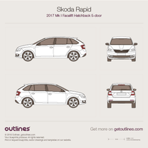 2017 Skoda Rapid Facelift 5-door Hatchback blueprint