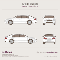 2008 Skoda Superb Mk II Liftback Hatchback blueprint