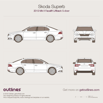 2013 Skoda Superb Mk II  Facelift Liftback Hatchback blueprint