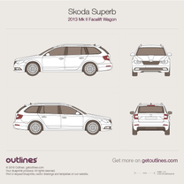 2013 Skoda Superb Mk II Facelift Wagon blueprint