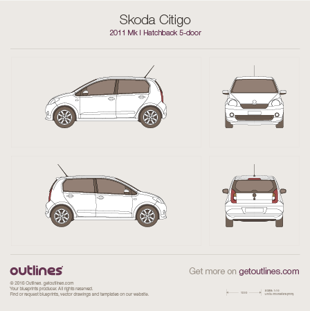 2011 Skoda Citigo 5-doors Hatchback blueprint