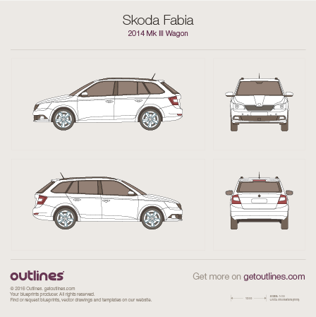 2014 Skoda Fabia III Wagon blueprints and drawings
