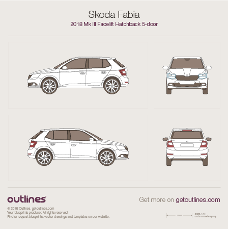 2018 Skoda Fabia III Facelift 5-doors Hatchback blueprint