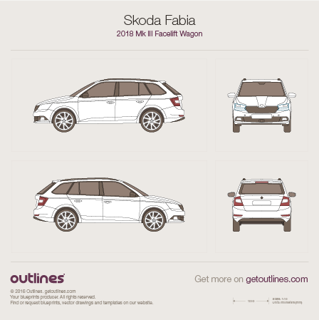 2018 Skoda Fabia III Facelift Wagon blueprint