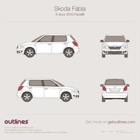 2010 Skoda Fabia II Hatchback blueprints and drawings