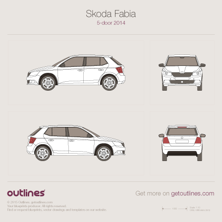 2014 Skoda Fabia III 5-doors Hatchback blueprint