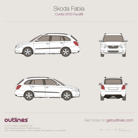 2010 Skoda Fabia II Facelift Wagon blueprint