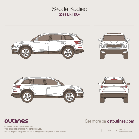 2016 Skoda Kodiaq SUV blueprint