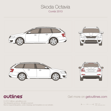 2013 Skoda Octavia A7 Wagon blueprints and drawings