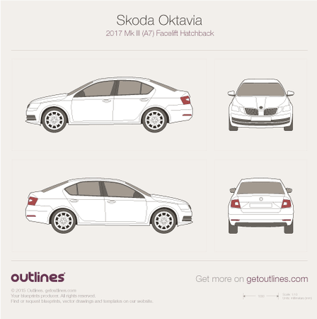 2017 Skoda Octavia A7 Hatchback blueprints and drawings