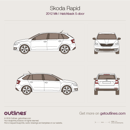 2012 Skoda Rapid Hatchback blueprints and drawings