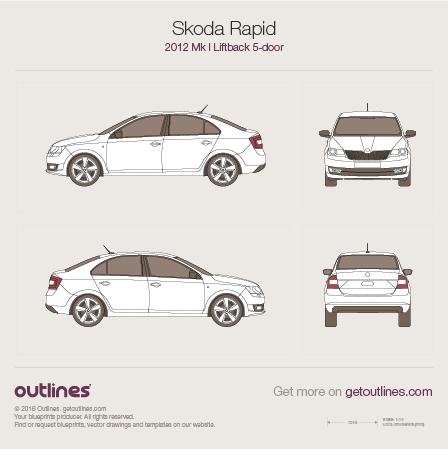 2012 Skoda Rapid Mk I Hatchback blueprints and drawings