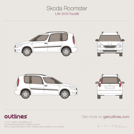 2010 Skoda Roomster Facelift Minivan blueprint