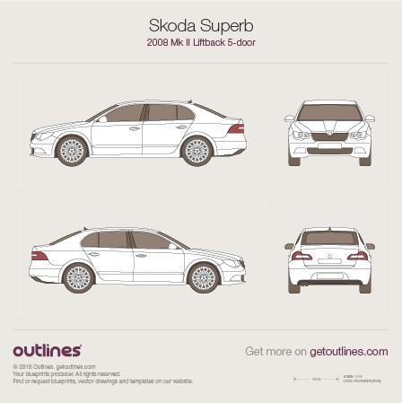 2008 Skoda Superb Mk II Liftback Hatchback blueprint