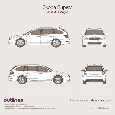 2008 Skoda Superb Mk II Wagon blueprint