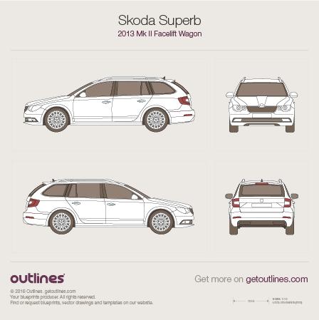 2013 Skoda Superb Mk II Wagon blueprints and drawings