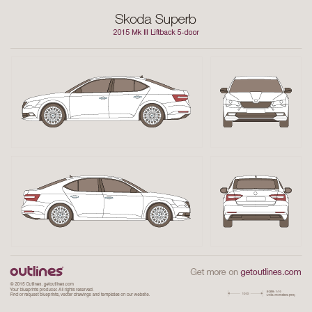2015 Skoda Superb Mk III Liftback Hatchback blueprint