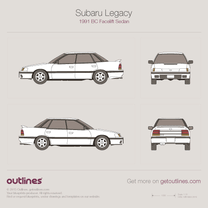 1991 Subaru Legacy BC Facelift Sedan blueprint