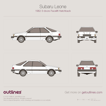 1982 Subaru Leone II 3-doors Facelift Hatchback blueprint