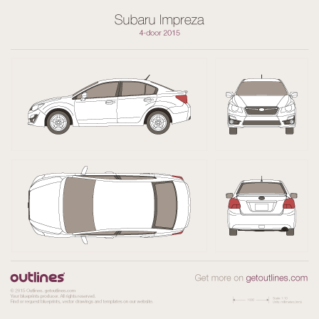 2015 Subaru Impreza IV Facelift Sedan blueprint