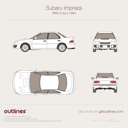 1992 Subaru Impreza WRX Sedan blueprint
