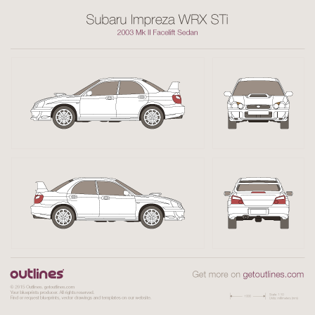 2003 Subaru Impreza WRX STi II Facelift Sedan blueprint