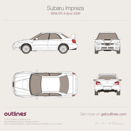 2005 Subaru Impreza WRX STi II Facelift Sedan blueprint