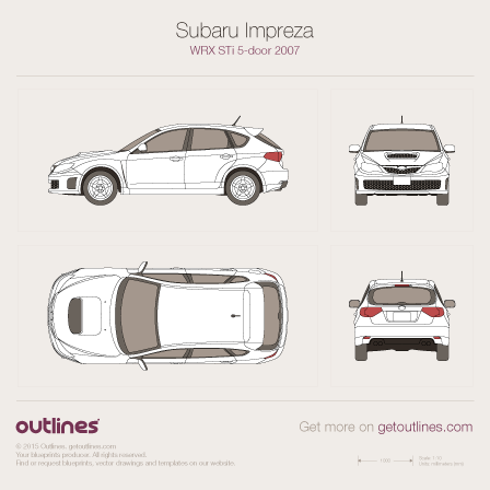 2007 Subaru Impreza WRX STi III 5-door Hatchback blueprint