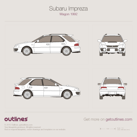 1992 Subaru Impreza Wagon blueprints and drawings
