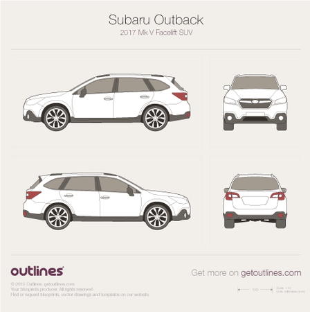 2017 Subaru Outback Mk V SUV blueprints and drawings